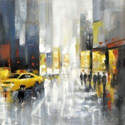 Rue achalandée sous la pluie