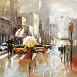 People with umbrellas walking across the street