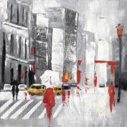 Rue de ville abstraite par un jour de pluie