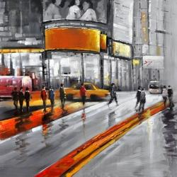 Gray street with orange accents