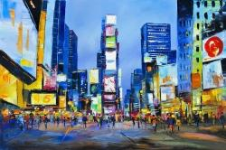 Cityscape with colorful ads