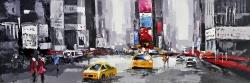 Abstract street with yellow taxis