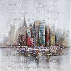 Cityscape with typography in relief