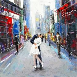 Couple kissing on the street