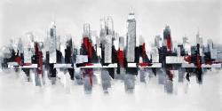 Paysage urbain gris et rouge flottant