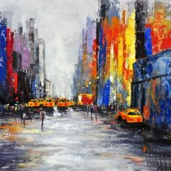 Color spotted street with taxis