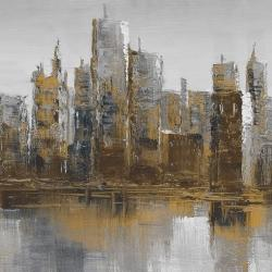 Gray and yellow cityscape
