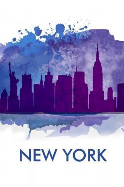 Silhouette bleue de la ville de new york