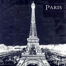 Paris blue print and eiffel tower