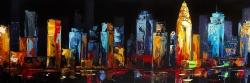 Colorful abstract cityscape on a dark background