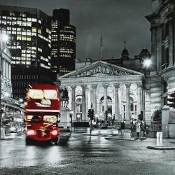 Grayscale pantheon with red bus