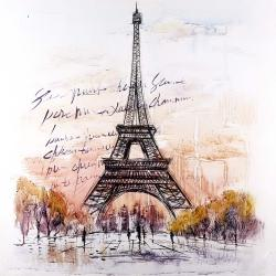 Eiffel tower sketch with an handwritten message