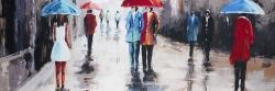 People with umbrellas in the street