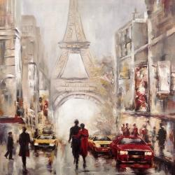 Busy street of paris with eiffel tower