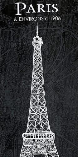 Eiffel tower sketch with a map in background