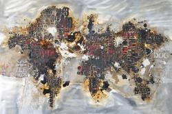 Carte du monde texturée avec typographie