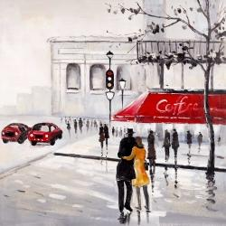 Couple marchant près d'un café