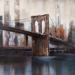 Brown and blue brooklyn bridge