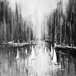 Grayscale boats on the water