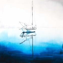 White boat on a deep blue water