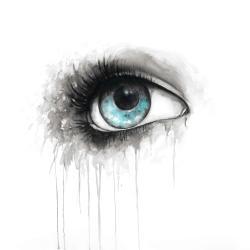 Blue eye in watercolor