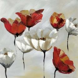 Abstract red and white flowers