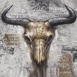 Bull skull with typography