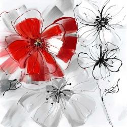 Red and gray flowers