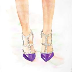 Purple studded high heels