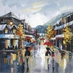 Passersby in the street by rainy day of fall