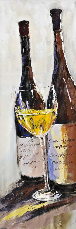 Two bottles with a glass of white wine