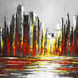 Abstract red skyline