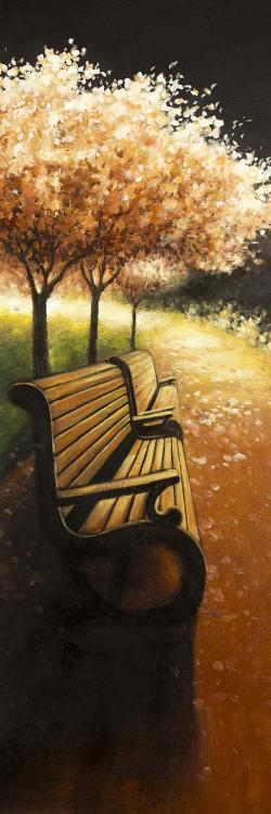 Park bench on a fall day