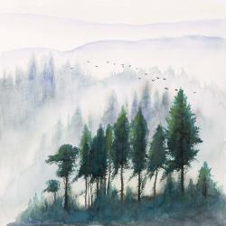 Paysage de montagnes à l'aquarelle