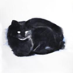 Abstract watercolor cat