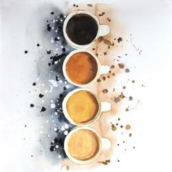 Four cups of coffee with paint splash
