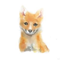 Watercolor smiling fox