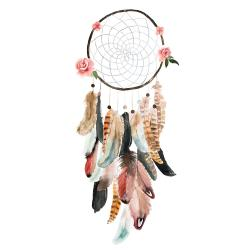 Circular dream catcher with roses and feathers