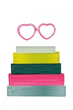 Heart shape glasses with books