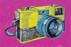 Colorful retro camera
