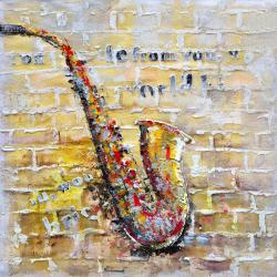 Saxophone on brick wall