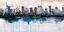 Abstract city with reflection on water