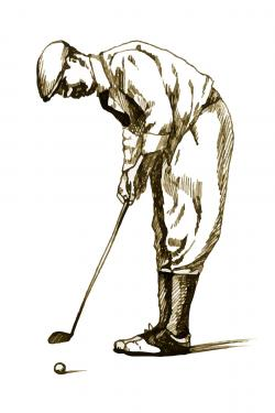 Illustration of a concentrated golfer