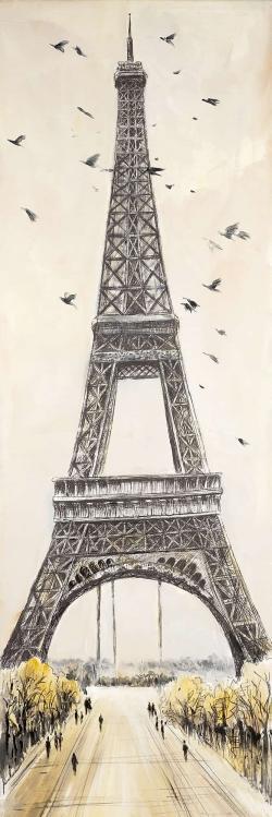 Eiffel tower with flying birds