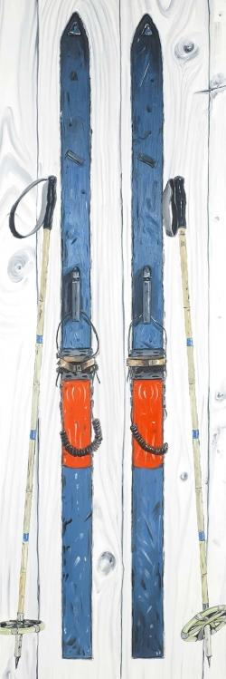 Vintage blue ski