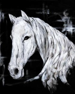 Abstract horse profile view