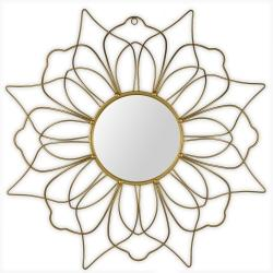 Gold metal flower mirror with 2 layers of petals