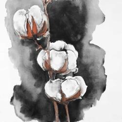 Watercolor cotton flowers