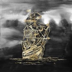 Sailing little ship illustration gold