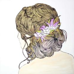 Blond woman from behind with flowers